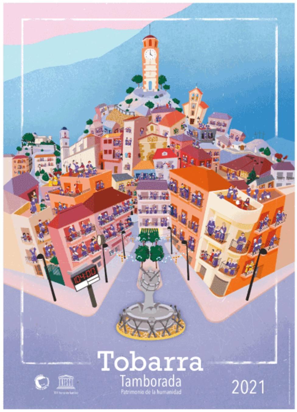 Cartel de la Asociación de tamborileros de Tobarra