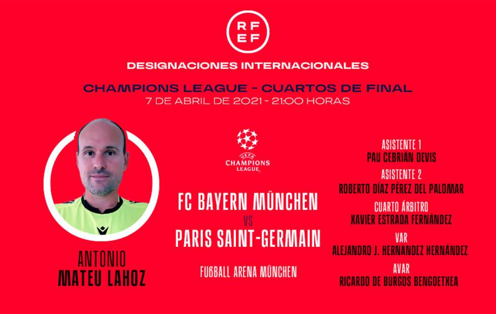Mateu Lahoz dirigirá el Bayern-PSG