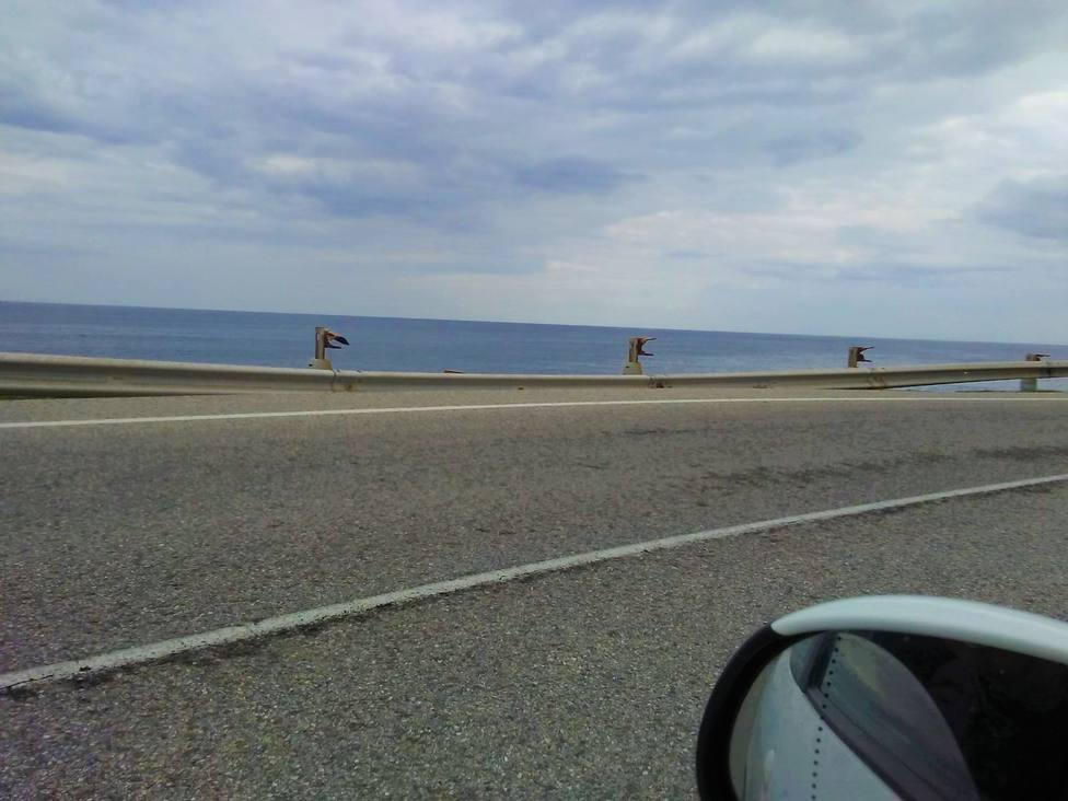 Bionda rota en la carretera de Burela a San Cibrao