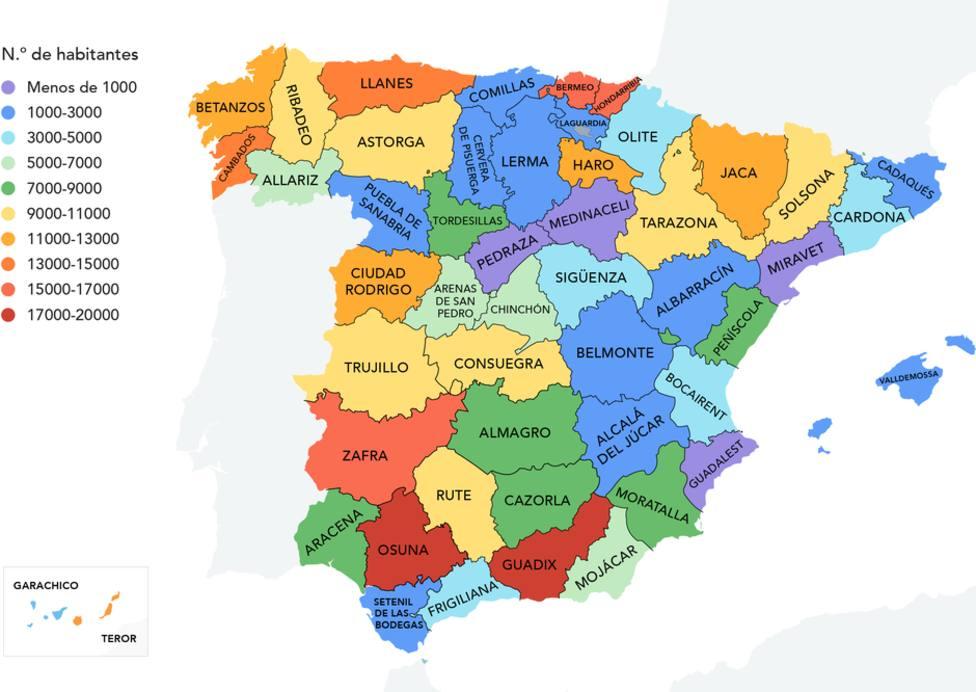 Este es el curioso mapa del pueblo más popular de cada provincia española