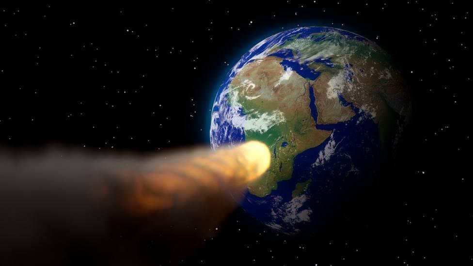 Una imagen ficticia de un asteroide en dirección a la Tierra