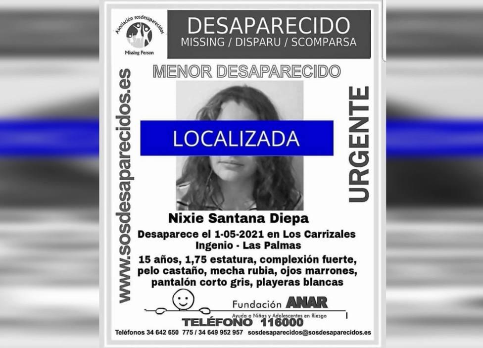 Encuentran a Nixie, la joven de 15 años a la que se buscaba en Gran Canaria
