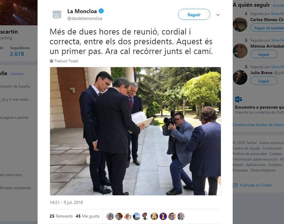 La cuenta oficial de Moncloa en Twitter publica un mensaje en catalán tras la reunión con Torra