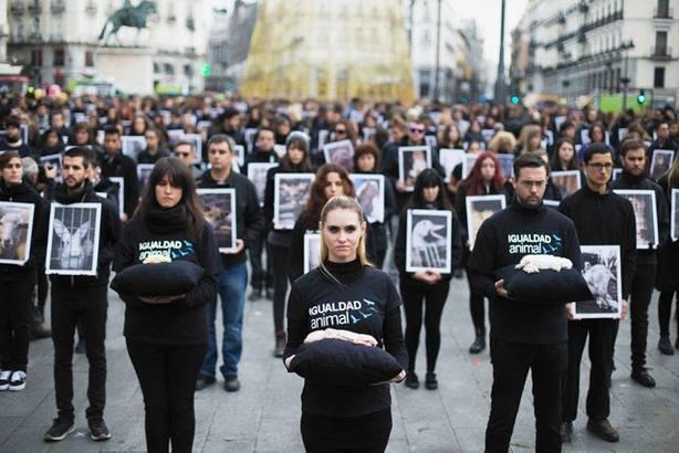 Activistas de Igualdad Animal organizan un acto de protesta en Sol (Madrid) por el Día de los Derechos Animales