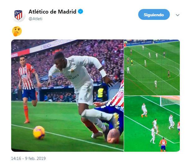 Tweet del Atlético de Madrid