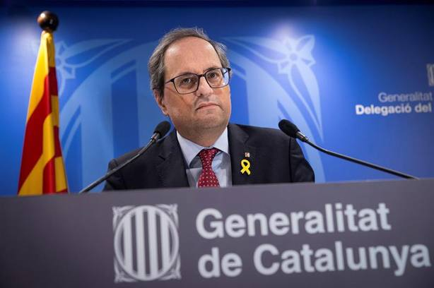 Torra no cede con Sánchez y pide la libertad de los presos tras la primera jornada del juicio del procés