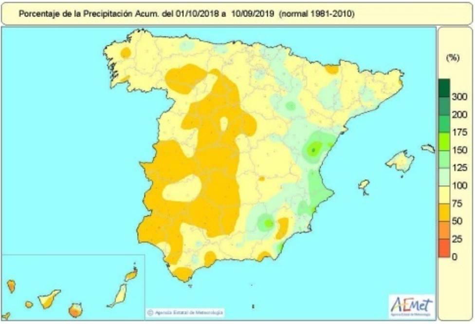 El déficit de lluvias en este año hidrológico sigue en un 15% en el conjunto de España, a falta de contar la última DANA