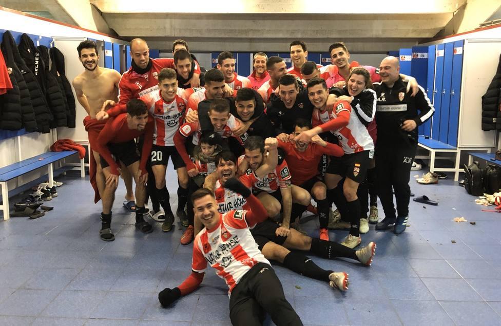 El UD Logroñés celebra un triunfo en Copa