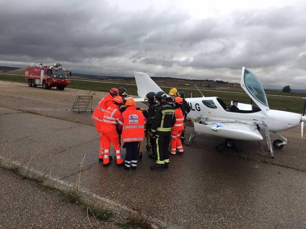 Simulacro de accidente aéreo en Burgos con implicación de dos aeronaves ocupadas por cuatro personas