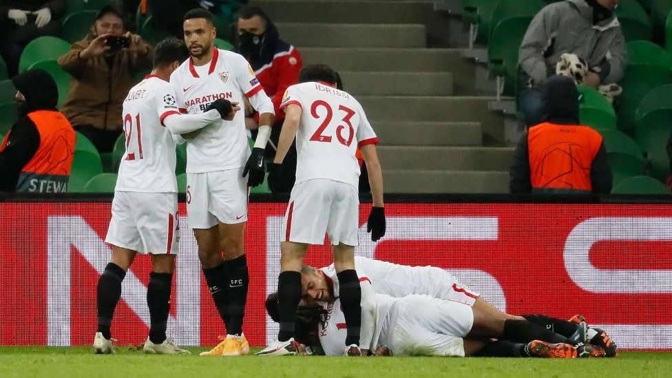 Celebración del gol de Munir