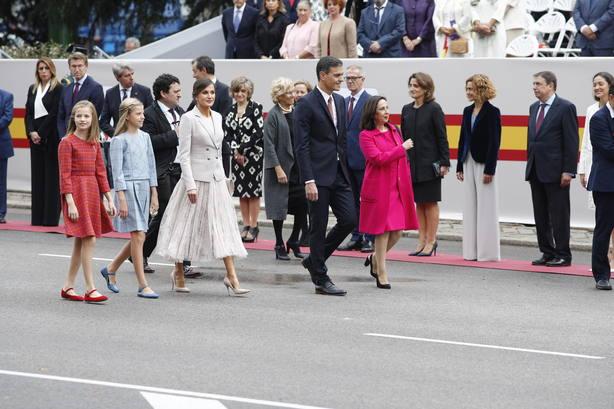 El presidente del Gobierno, Pedro Sánchez llega al desfile