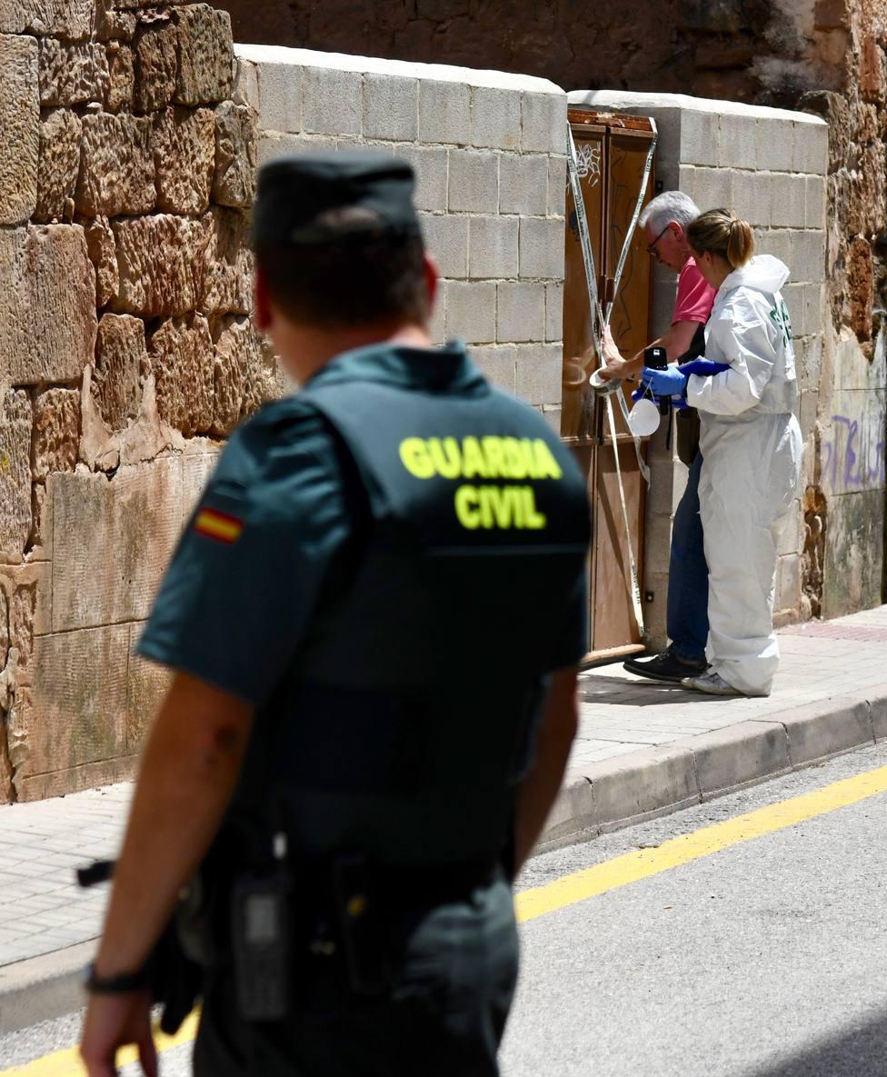 Un guardia civil vigila el lugar en el que fue encontrado el cupero de la mujer asesinada en Salas.