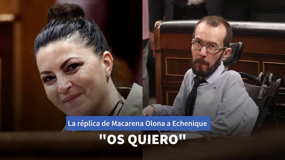"""La réplica de Macarena Olona a Echenique tras su crítica a Taburete: """"Os quiero"""""""