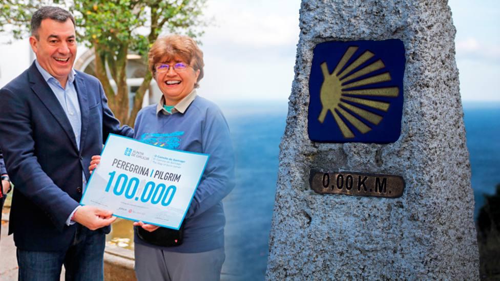 Cynthia Capa recoge el reconocimiento como peregrina número 100.000 del Camino de Santiago de 2019