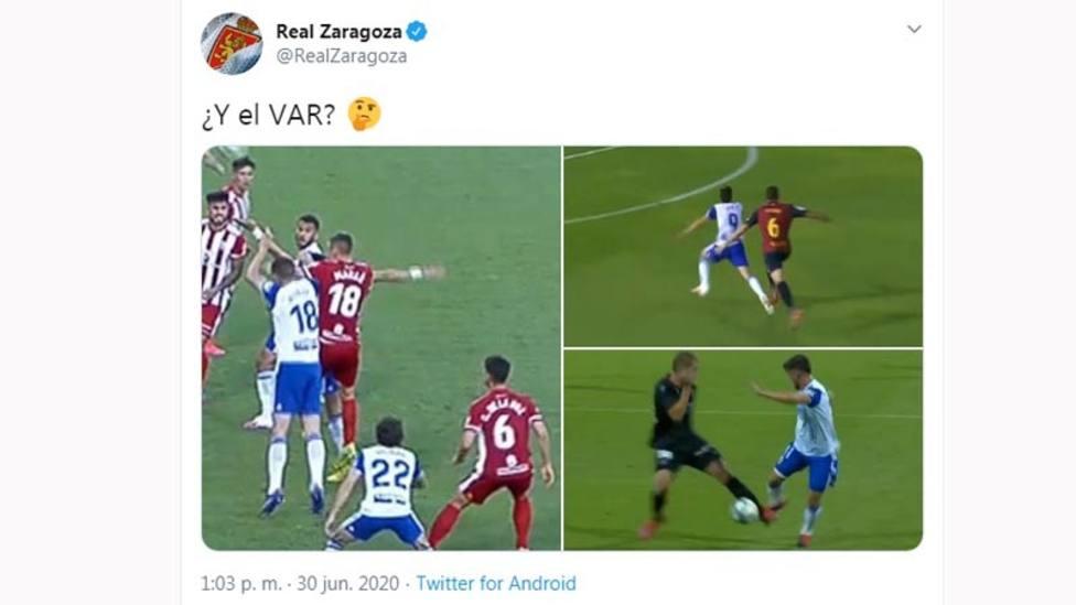 El Zaragoza se queja del uso del VAR en el partido frente al Huesca