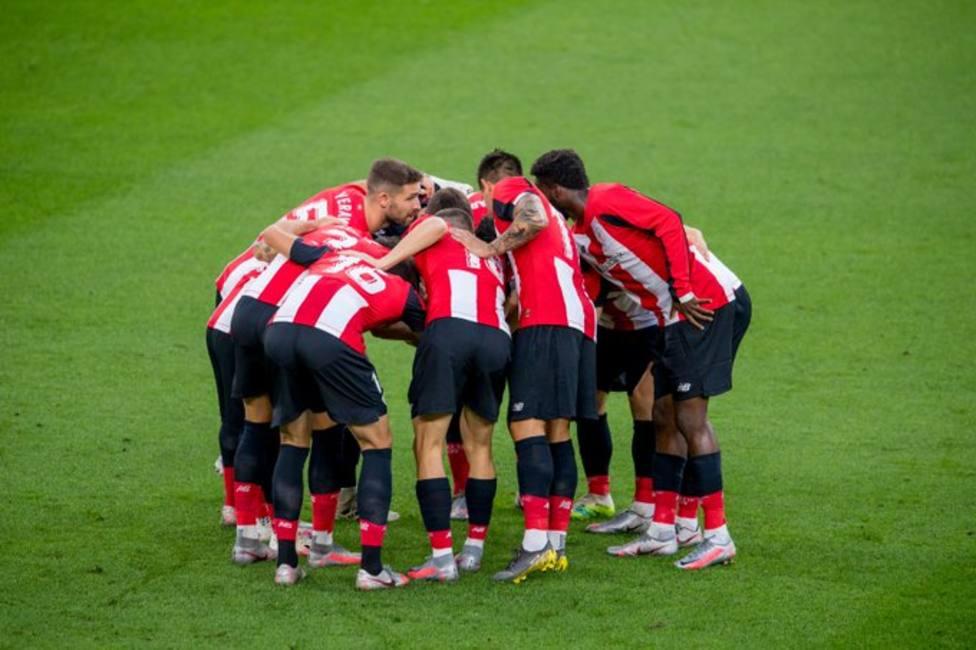 Los jugadores del Athletic en un partido de la pasada temporada