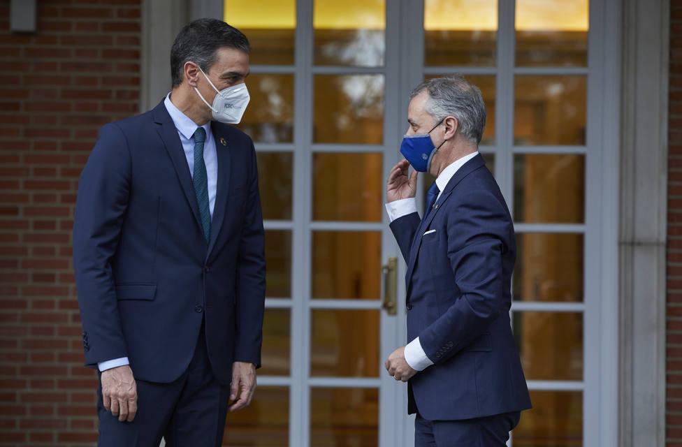 Imagen de archivo de la reunión que Sánchez y Urkullu mantuvieron en Moncloa el pasado mes de enero