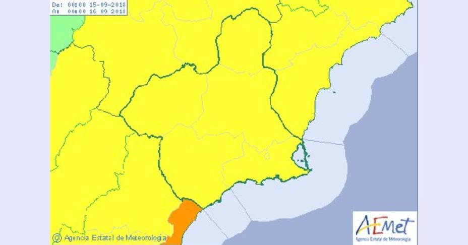 AEMET activa el aviso amarillo por lluvias y tormentas este sábado en la Región