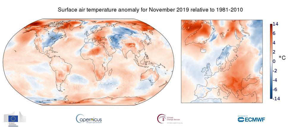 El mes de noviembre de 2019 fue el tercer noviembre más cálido de la historia, según Copernicus