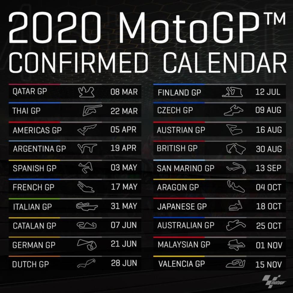 El Calendario 2020 De Motogp Tendra 20 Grandes Premios Motociclismo Cope