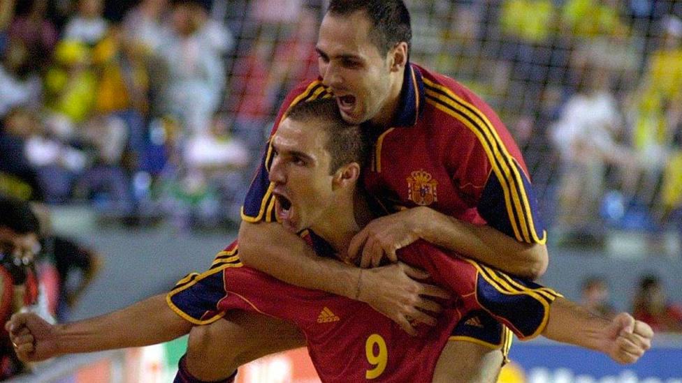 Javi Rodríguez y Javi Sánchez, en el Mundial de Guatemala de fútbol sala (FOTO: LNFS)
