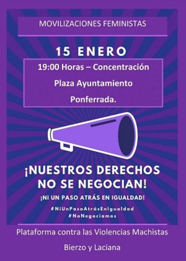 Colectivos feministas de Ponferrada convocan una concentración contra el acuerdo de PP, Cs y Vox en Andalucía