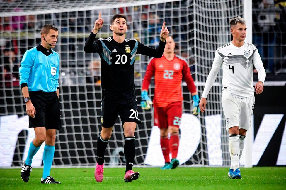 Argentina celebra uno de los goles a Alemania (EFE)