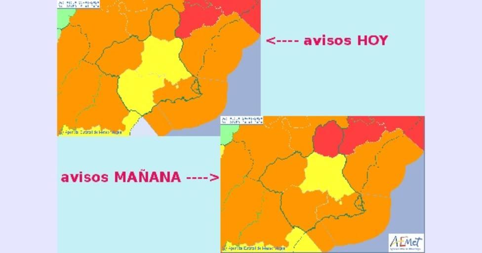 Aemet activa el nivel Naranja y Amarillo para este domingo y lunes en distintos puntos de la Región