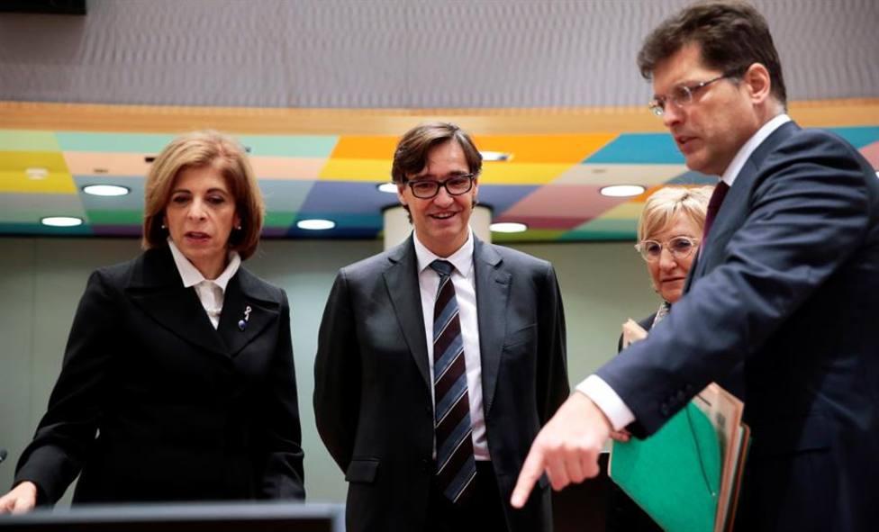 El ministro de Sanidad, Salvador Illa, en Bruselas junto a colegas de la Unión