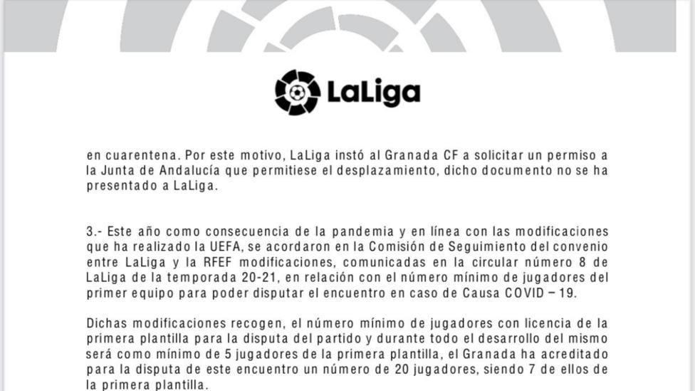 LaLiga recuerda que basta con 5 jugadores de la primera plantilla para poder jugar