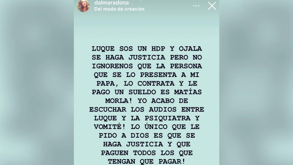 Mensaje de Dalma Maradona en Instagram