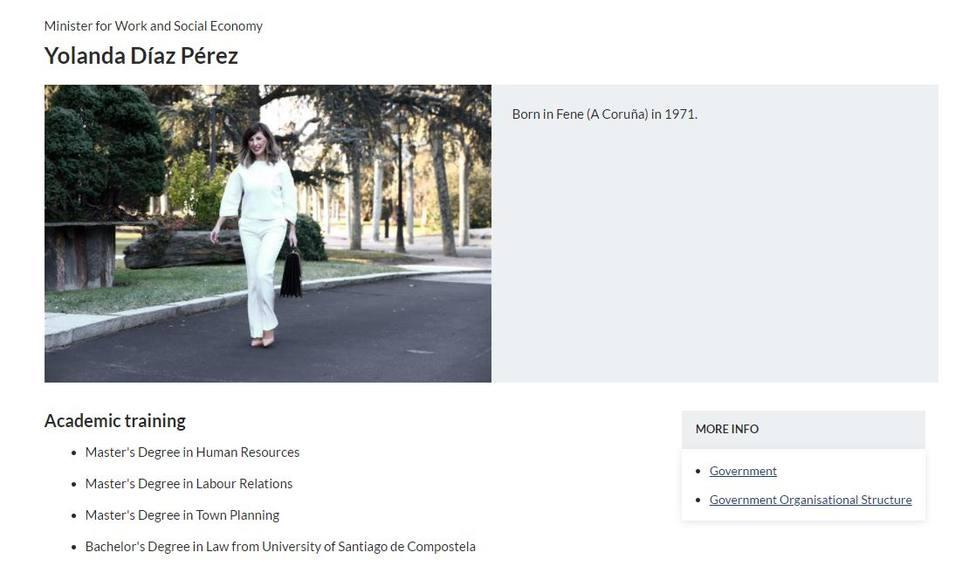 El detalle del currículum de Yolanda Díaz que Moncloa ha borrado: Los han quitado