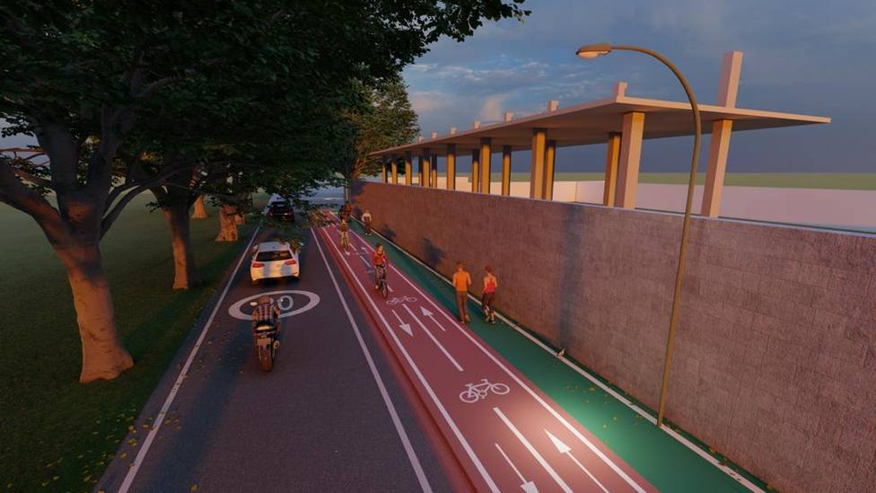 Recreación de la futura senda peatonal y carril bici en A Moreira