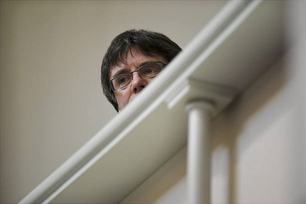 Former Catalan leader Carles Puigdemont attends the session of Finnish Parliament in Helsinki