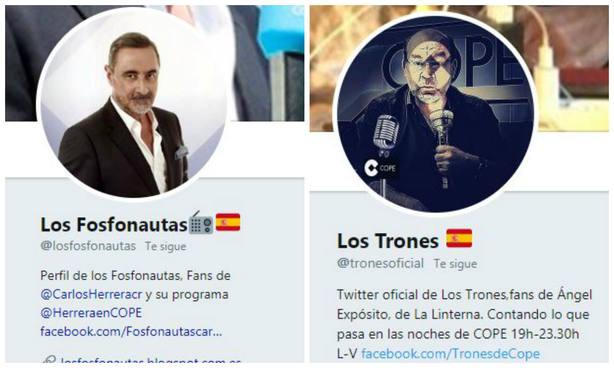 Cuentas de Twitter de @losfosfonautas y @tronesoficial