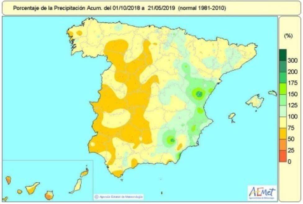 Las lluvias recogidas en España desde octubre hasta el 21 de mayo están un 12 por ciento por debajo de lo normal