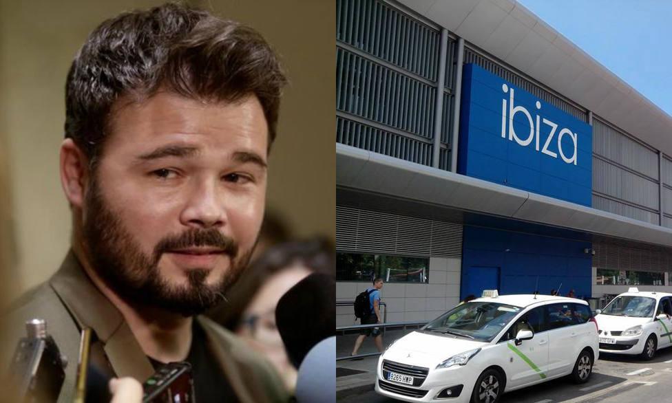La patriótica bienvenida que los taxistas han dado a Rufián tras llegar a Ibiza para homenajear a Junqueras
