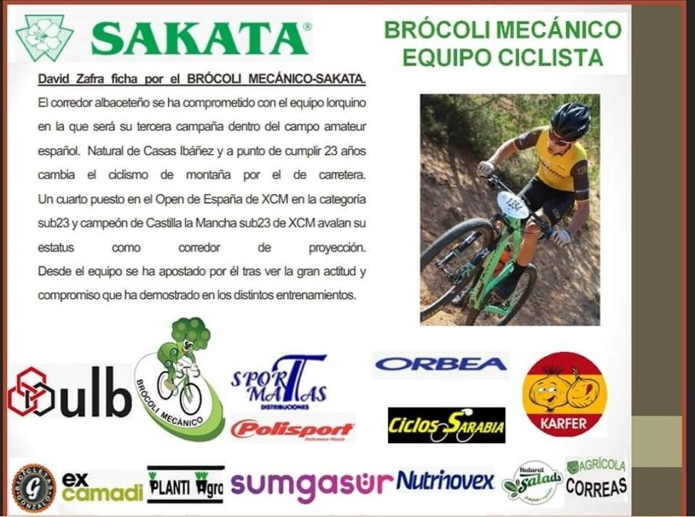 David Zafra último fichaje del Brócoli Ciclista