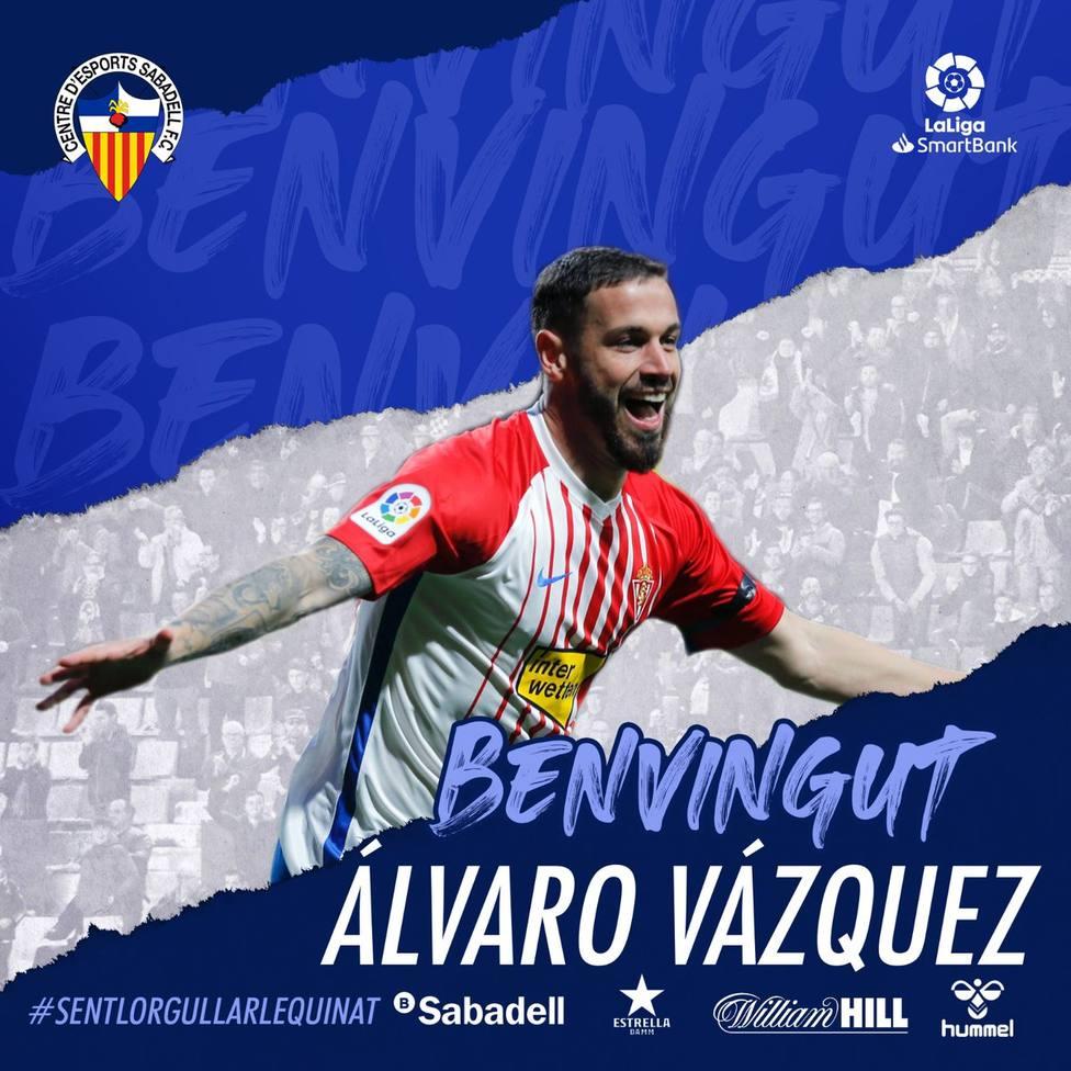 Álvaro Vázquez llega al Sabadell cedido hasta final de temporada