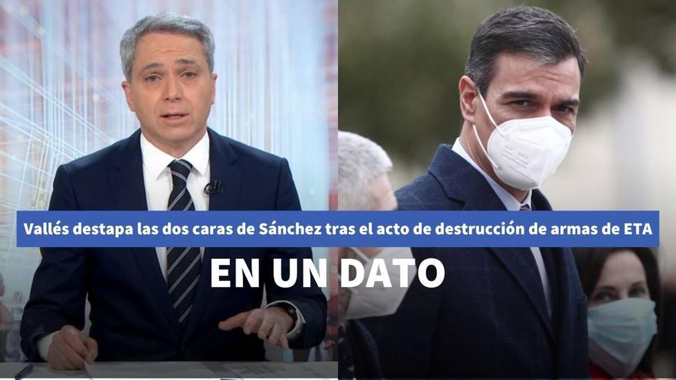 Vicente Vallés destapa las dos caras de Sánchez tras el acto de destrucción de armas de ETA: en un dato
