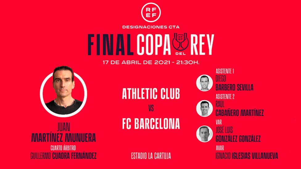 Martínez Munuera, árbitro de la final de Copa 2021 entre Athletic y Barcelona