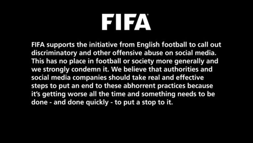 La FIFA también apoya el boicot del fútbol inglés en redes sociales