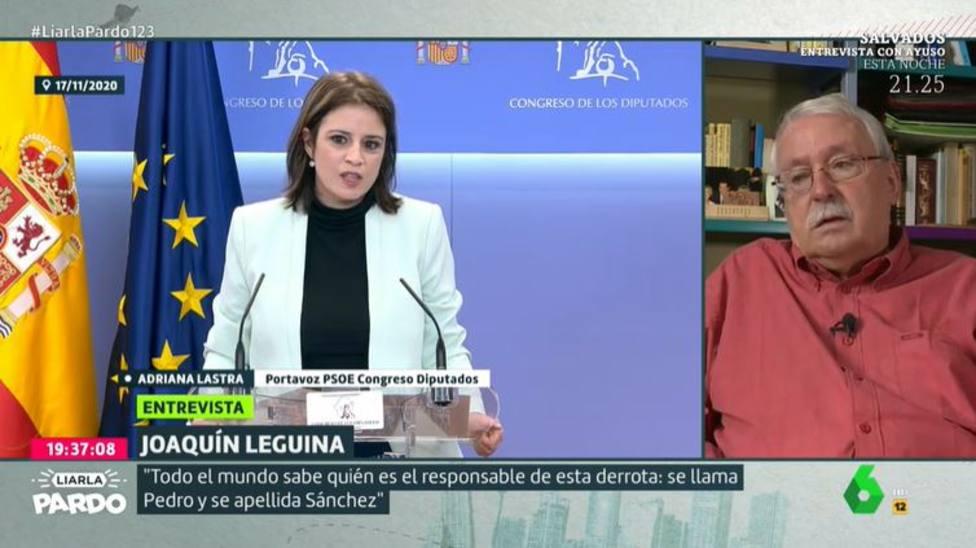 Leguina se salta el guion en La Sexta para hacer una pregunta a Adriana Lastra sobre su currículum