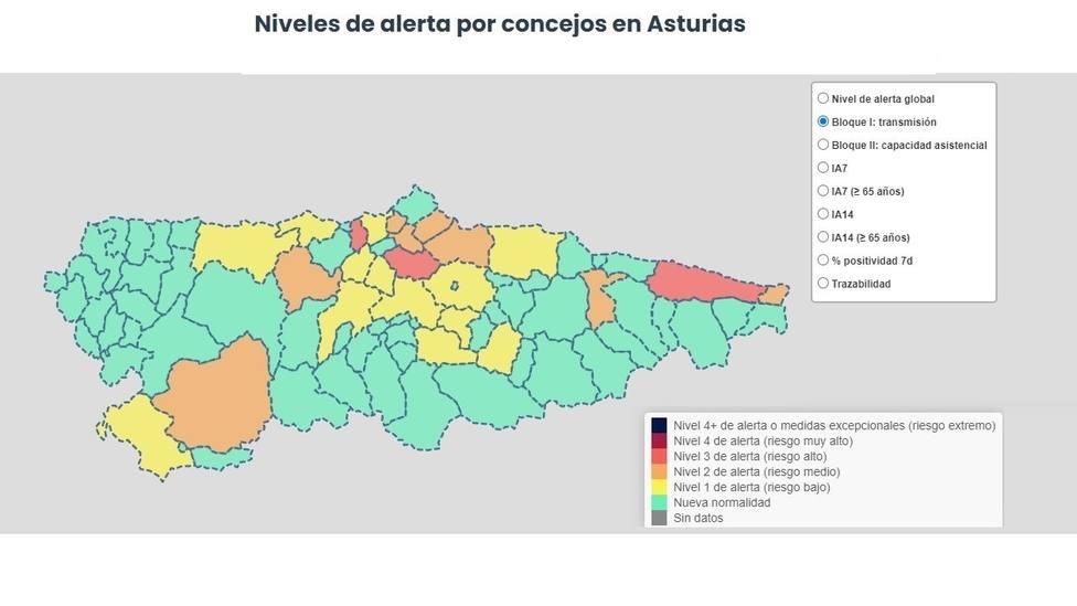 Niveles de alerta por concejos en Asturias (14/05/21)