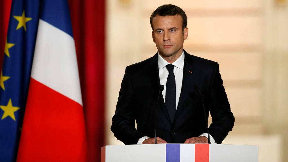 French President Emmanuel Macron delivers a speech during his inauguration at the handover ceremony at the Elysee Palace in Paris