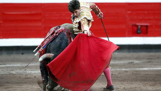 Natural de Álvaro Lorenzo a su primer toro de Victorino Martín en Bilbao, al que cortó una oreja