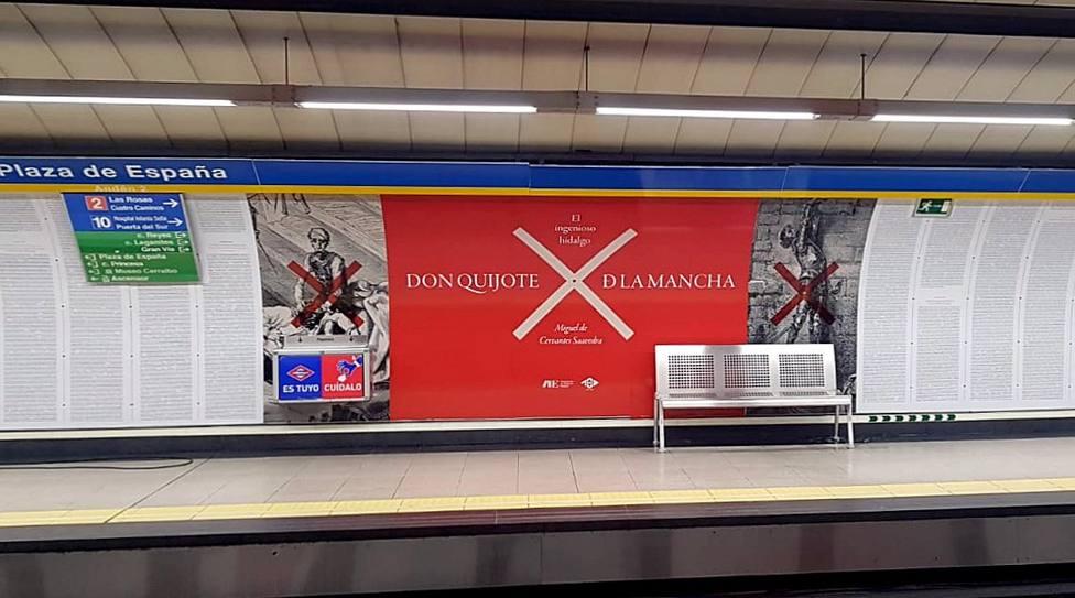 """El metro se """"Quijotiza"""" en Plaza de España"""