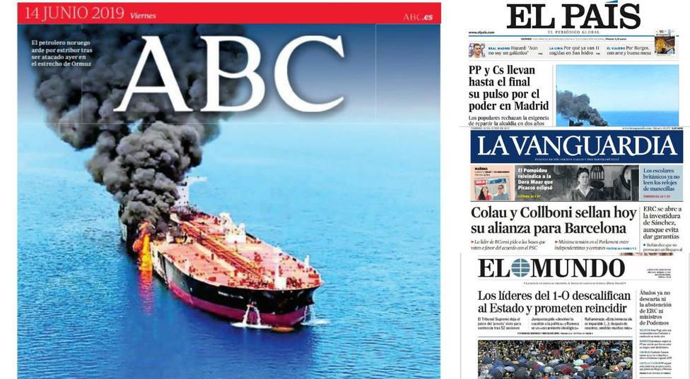 La escalada de tensión entre EE.UU. e Irán por el ataque a dos petroleros, portada en la prensa