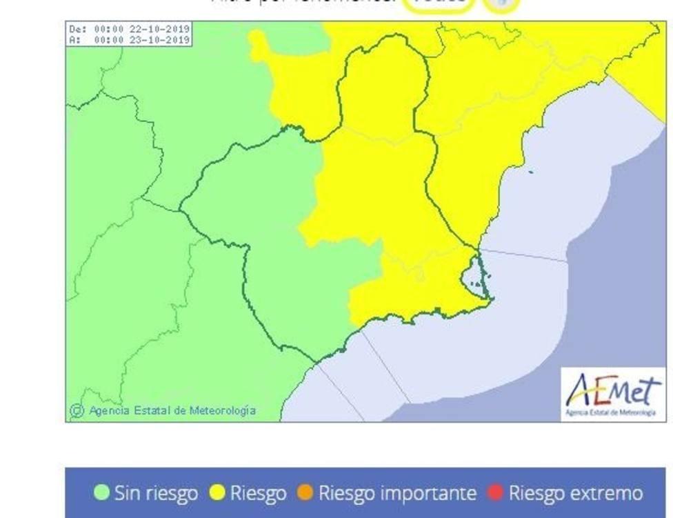 Campo de Cartagena estará en alerta amarilla este martes por lluvias que pueden dejar 20 l/m2 en una hora