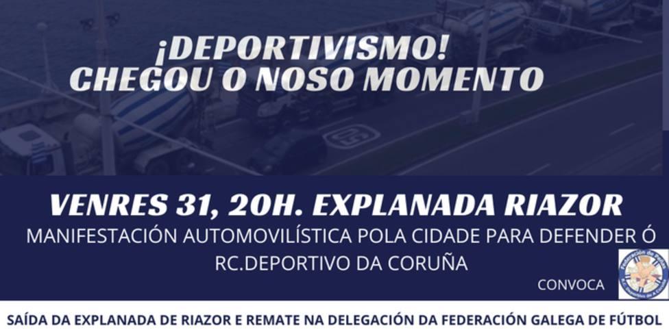 La Federación de Peñas del Deportivo convoca una manifestación en coche contra el descenso del equipo